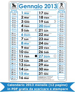 2013 in PDF con santi e fasi lunari da stampare subito ...