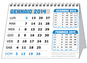 Immagine del calendario da tavolo