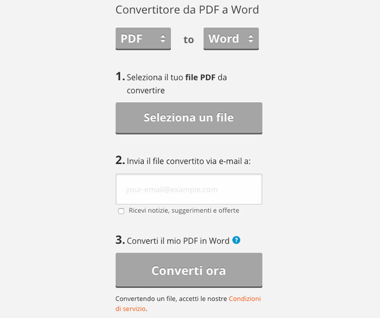 Pdftoword per convertire PDF in Word