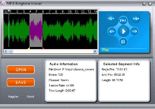 Interfaccia del programma per creare suonerie