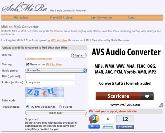 Interfaccia del convertitore di Midi in MP3
