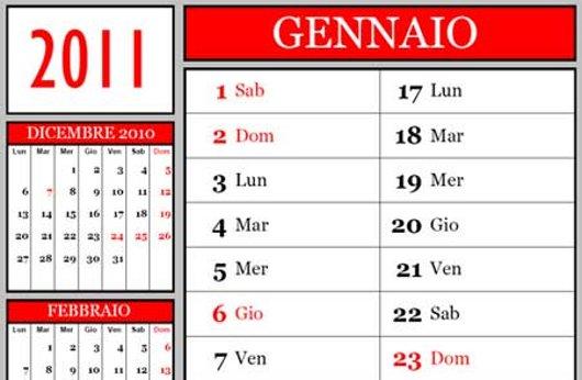 Calendario in versione stampabile