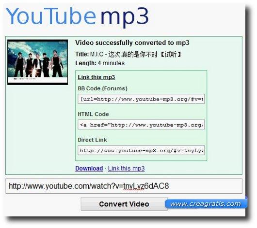 Quinto sito per scaricare Mp3 da YouTube