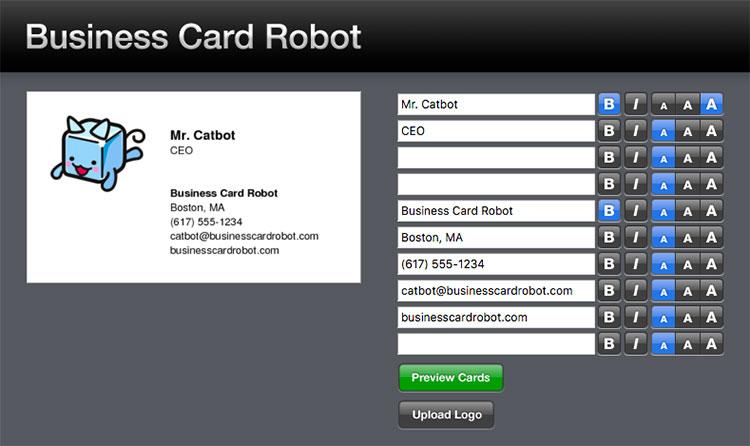 Sito Businesscardrobot