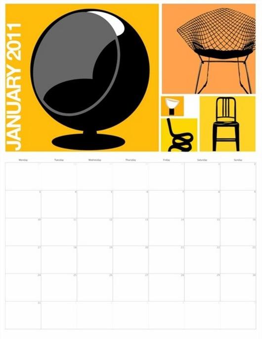 Calendario con disegni particolari