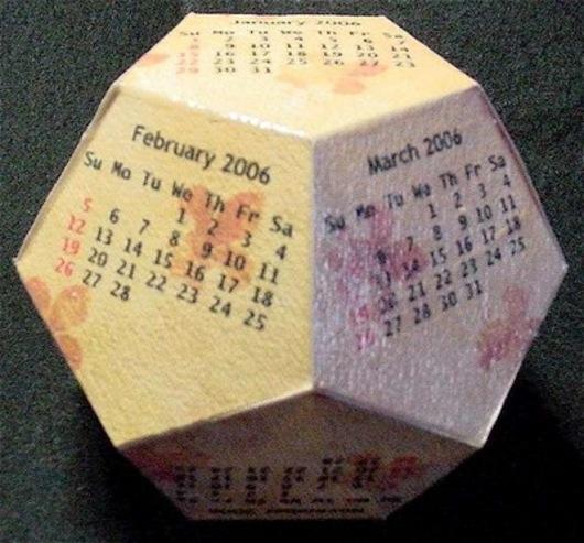 Calendario a forma di Dodecaedro