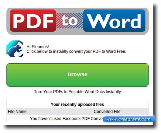 Applicazione per trasformare file PDF in Word