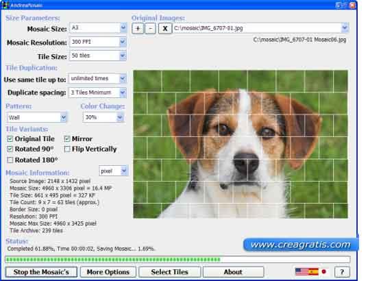 Interfaccia del programma per creare mosaici