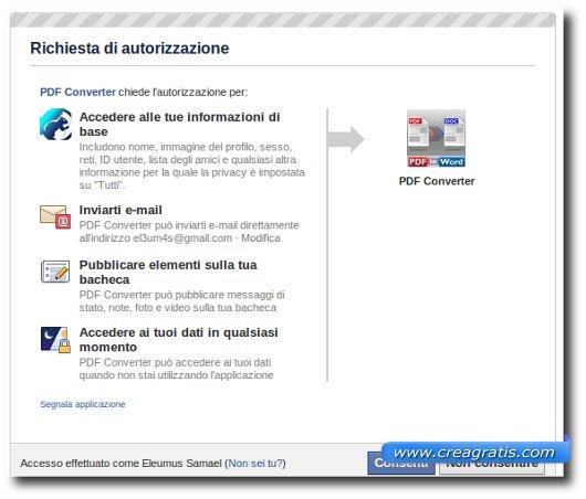 Primo passo per convertire PDF da Facebook