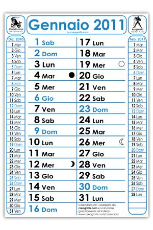 Calendario 2011 con Fasi Lunari