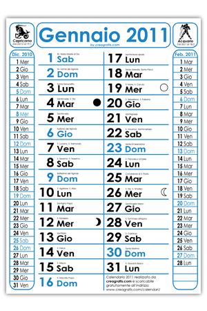 Calendario 2011 con Santi e Fasi Lunari