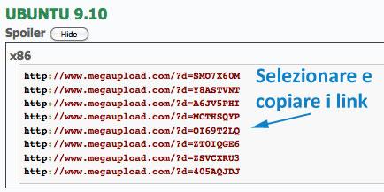 Selezionare e copiare i link