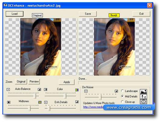 Interfaccia del Programma gratis per la qualità delle foto