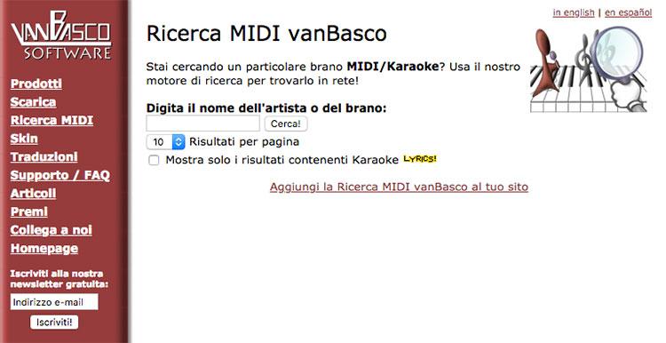 Motore di ricerca MIDI