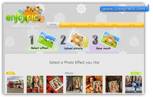 Interfaccia grafica del sito dei fotomontaggi