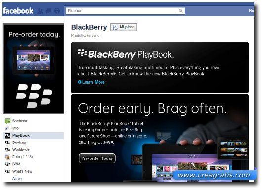 Facebook per Blackberry