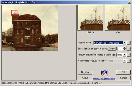 Interfaccia del programma per la correzione delle foto sfocate