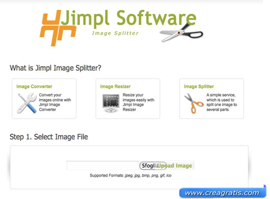 Interfaccia del sito per modificare le immagini