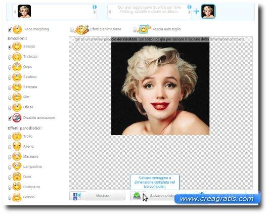 Espressione modificata del viso di una foto
