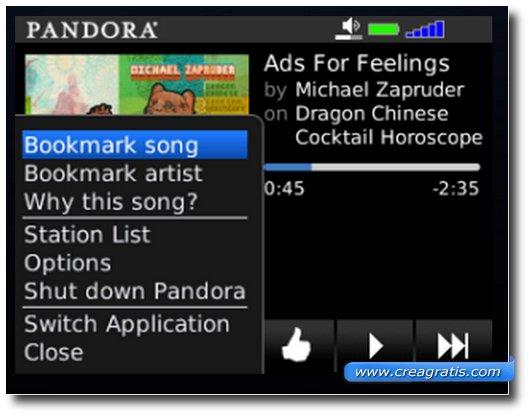 Pandora per Blackberry