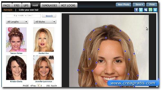 Cambiare colore di capelli online gratis