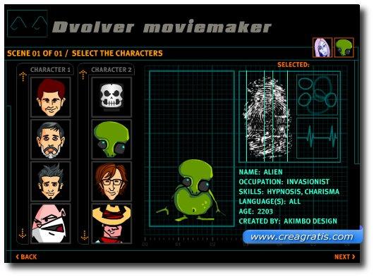 Terzo passaggio: scelta dei personaggi