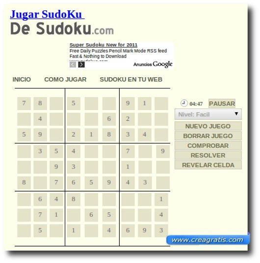 Quinto sito per giocare a sudoku online
