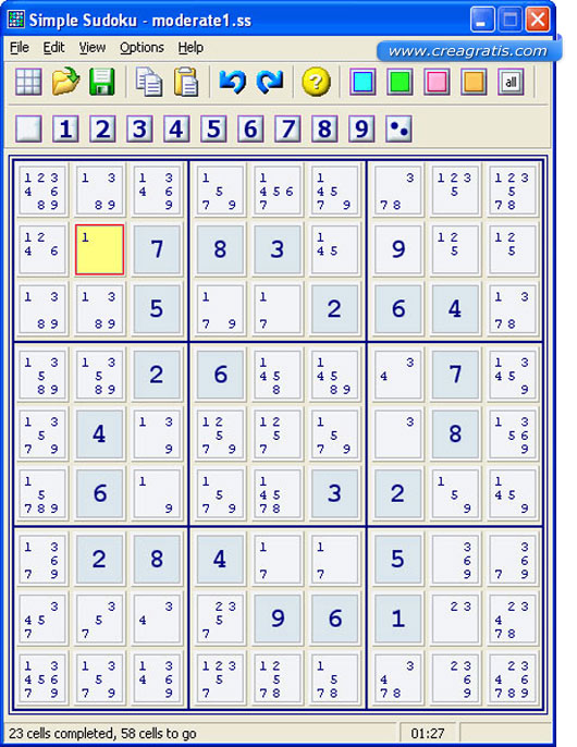 Interfaccia del Software per creare sudoku