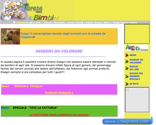 Terzo sito con disegni da colorare
