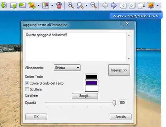 Interfaccia programma per inserire testo su foto