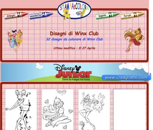Terzo sito con disegni delle Winx