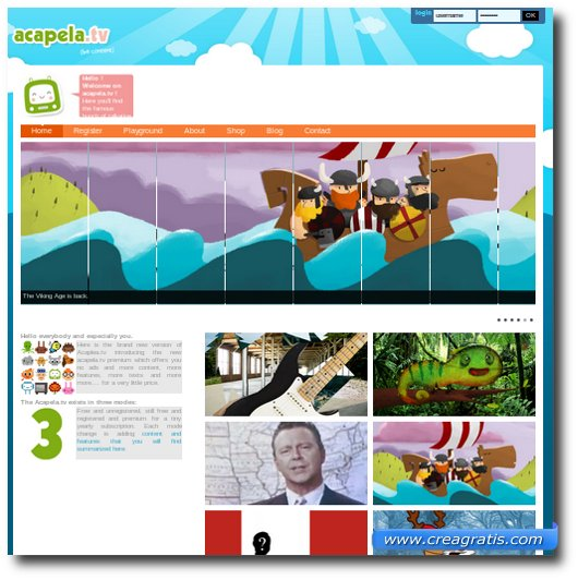 Home page del sito Acapela.tv