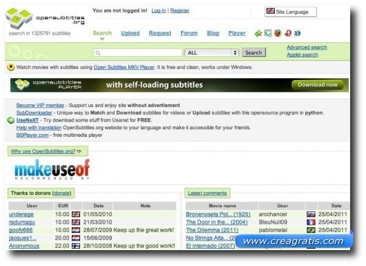 Primo sito per scaricare sottotitoli