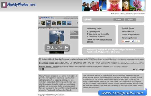 Interfaccia grafica del sito per il fotoritocco