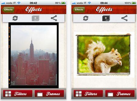 Interfaccia App Effects per iPad e iPahone per fare fotoritocco