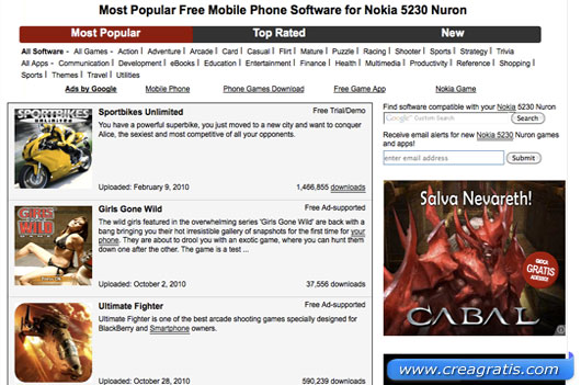 Giochi gratis per Nokia 5230
