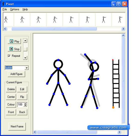 Interfaccia del programma per creare animazioni con i disegni