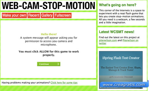 Interfaccia del sito per creare GIF animate con la webcam