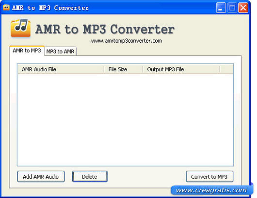 Interfaccia programma per convertire AMR in MP3