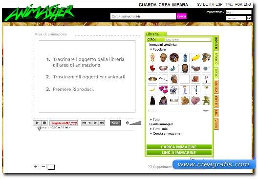 Interfaccia sito per creare animazioni