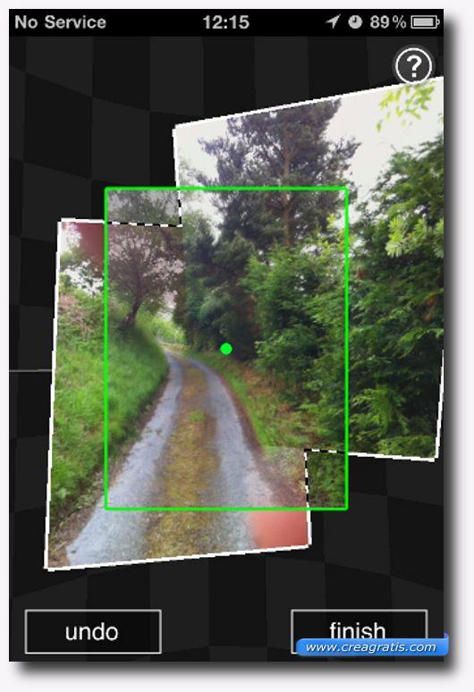 Interfaccia dell'applicazione per creare foto 3D
