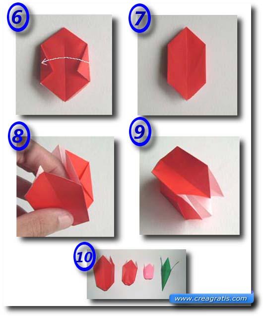 Seconda immagine con le istruzioni per il fiore della rosa di carta