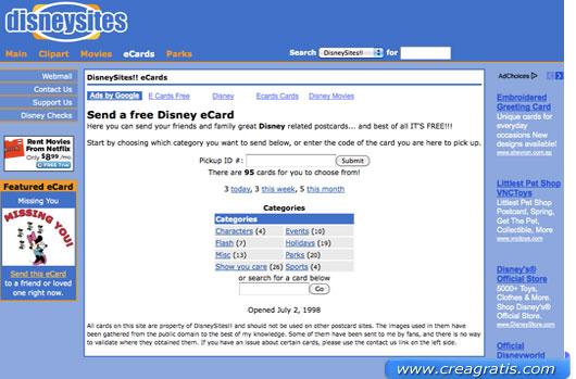 Primo sito con cartoline e biglietti Disney