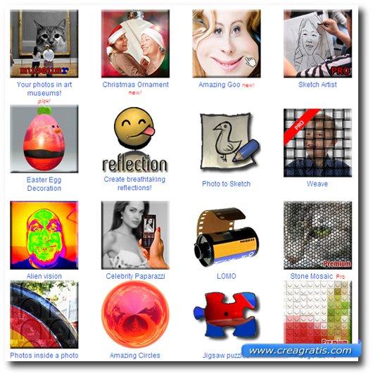 Secondo e terzo sito con effetti speciali per foto