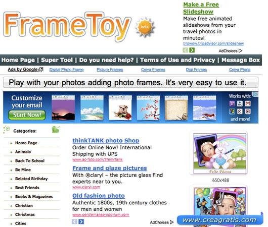 Interfaccia sito per cornici per foto di bambini