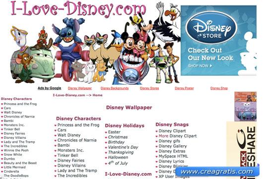 Secondo sito con cartoline e biglietti Disney