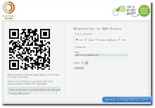 Interfaccia sito per creare codici QR online