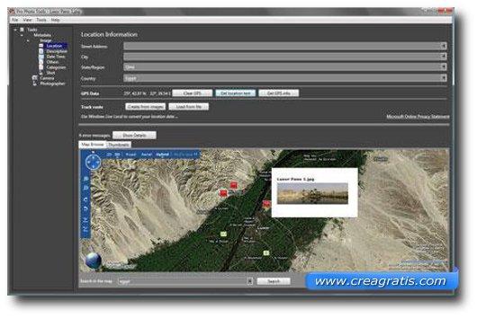 Interfaccia programma per fare il geotagging
