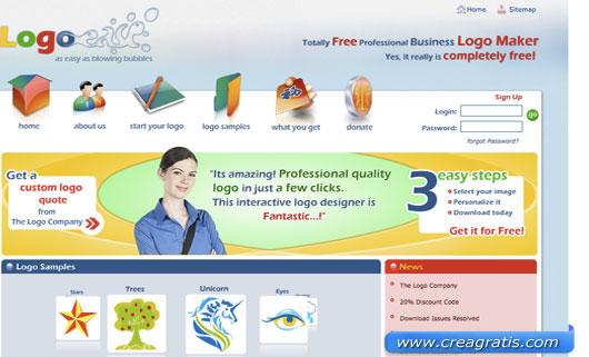 Interfaccia sito per creare un logo