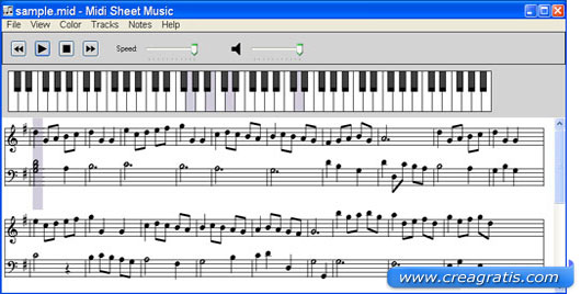 Interfaccia programma Midi Sheet Music